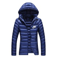 Nike Women Fashion Casual Hooded Cardigan Jacket Coat Windbreaker