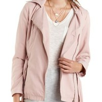 Hooded Moto Trench Coat by Charlotte Russe