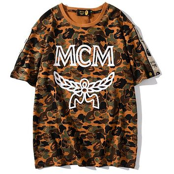 BAPE x MCM sweatershirt joint name tide brand camouflage desert T-shirt top brown