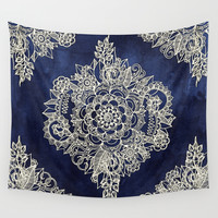 Cream Floral Moroccan Pattern on Deep Indigo Ink Wall Tapestry by Micklyn