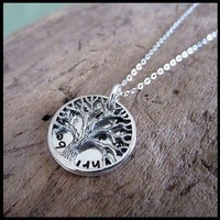 Tree of Life Custom Name Stamped Silver Family Necklace