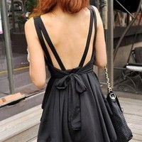 Cute Bowknot BACKLESS DRESS WITH SHOULDER-STRAPS