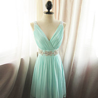 Short Seafoam Blue Prom Dress/Homecoming Dress/Bridesmaid Dress/Wedding Party Dress/Mini Dress