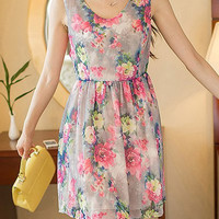 Water Red Floral Printed Chiffon Skater Dress