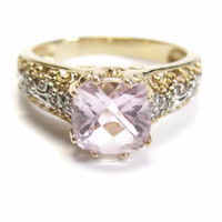 14K Yellow Gold Pink Morganite and Diamond Engagement Ring Size 10