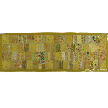 Green Vintage Fabric Patchwork and Embroidered India Wall Tapestry Runner