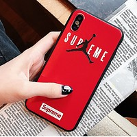 NIKE Jordan Fashion New People Letter Print Women Men Protective Cover Phone Case Red