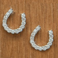 Montana Silversmiths® Silver with Clear Crystal Horseshoe Earrings