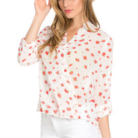 V-Neck Wrap Blouse Off White Red Floral