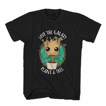 Save The Galaxy Plant A Tree Guardians Of The Galaxy Baby Groot Funny Superhero Man's T-Shirt