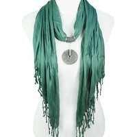 2012 New Fashion Triangle Jewelry Scarf with Fringe, Alloy Circle Pendant Charm Scarf, 4pcs/lot, 4