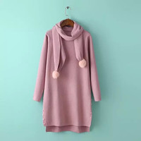 Plain Side Button Knitted Sweater with Scarf