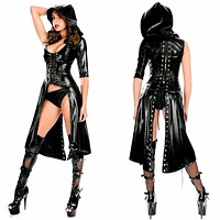 Ladies Sexy Black Wet Look Leather Dress Catsuit Costume Outfit