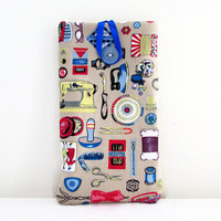 Iphone 6plus case , beige Craft fabric mobile phone cover , cell phone sleeve large 6 inch phablet case Sony Xperia Z ultra, Uk seller