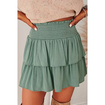 Sincerest Wishes Ruffle Mini Skirt (Sage)