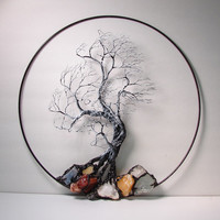 """Wire Tree Of Life Black and White Wind Spirit sculpture with natural Calcites, original Art  14 """" wall hanging decor"""