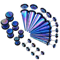PiercingJ Mens Womens 10 Pairs Mixed Size Acrylic Taper & Barbell Round Stud Fake/ Cheater/ Illusion Plug Earrings Set 6g-00g Look (Blue)