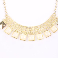 Cream Squared Pendant High Polish Detailed Carved Necklace