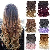 Clip In Hair Extension 130g Natural Long Wavy Curly  Ombre