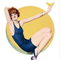 Pin Up Art Redhead Sitting On The Moon Poster