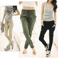 Womens Korean Wild Stretch Slim Feet Harem Pants Stretch CasualLong Trousers