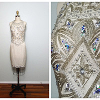 Ivory Beaded Sequin Great Gatsby Dress (Vintage)