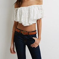 White Half Sleeve Lace Blouse