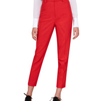 Red High Waist Capri Pants