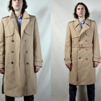 Vintage 70's Europe Craft Designer Wool Trench Coat Business Jacket