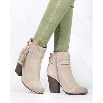 Very Volatile - Enchanted Tassel Detail Suede Leather Ankle Booties in Taupe