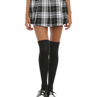 Black & White Plaid Buckle Skirt