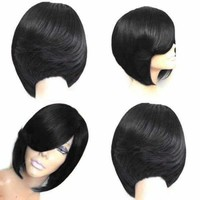 Short Side Bang Feathered Straight Bob Synthetic Wig - Wine Red   Fwresh Beauty