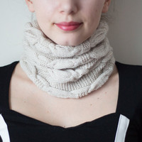 Knit Neck Warmer, Knitted Scarf, 2 in 1 Hat and Neck Warmer, 2 in 1 Neck Warmer and Hat, Cream Neck Warmer, Knit Neck Warmer, Knit Scarf
