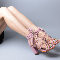 Studded Crisscross Lace Up High Heal Sandals Espadrilles