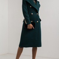 AMMO X AKIRA Double Breasted Metallic Button Puff Sleeve Lapel Military Coat in Black, Green
