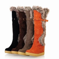 Womens Ladies Faux Fur Knee High Snug Hidden Wedge Heel Snow Boots Shoes = 1931772356