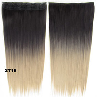 """Dip dye hairpieces New Fashion 24"""" Women Clip in on gradient wig Bath & Beauty Hair Ombre Hair Extensions Two Tone Straight hair Gradient Hair Extension Colorful Hairpieces GS-666 2T16,1PCS"""