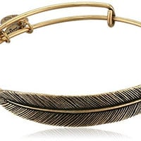Alex & Ani Earth Sultry Quill Feather Rafaelian Gold-Tone Finish Bracelet