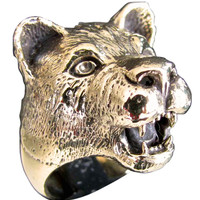 Lioness Ring Female Lion in Bronze