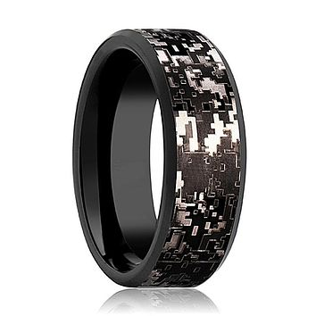 Men's Black Tungsten Wedding Band with Black Digital Camouflage Inlay and Bevels - 8MM