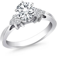 Cathedral Engagement Ring Mounting with Side Diamond Clusters in 14K White Gold