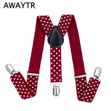 AWAYTR 2017 Cute Dot Suspenders for Kids Braces Elastic Belts Baby Suspenders Wine Red Color Suspensorios 65 cm