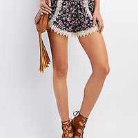 CROCHET-TRIM FLORAL PRINT SHORTS