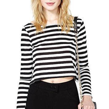 White and Black Striped Long Sleeve Crop Tops