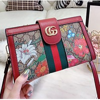 GUCCI New fashion floral more letter leather shoulder bag crossbody bag
