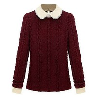 Oasap Women's Long Sleeves Peter Pan Collar Cable Sweater