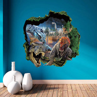 3D dinosaurs through the wall stickers jurassic park home decoration zooyoo1439 diy cartoon kids room wall decal movie mural art SM6