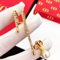 DIOR Hot Sale Ladies Chic Diamond Pearl Pendant Earring Ear Clip Accessories Jewelry