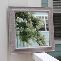 French Provincial square wall mirror, hand-painted in Annie Sloan custom gray chalk paint