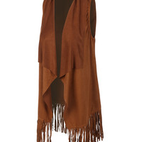 LE3NO Womens Sleeveless Draped Suede Vest with Fringe Hem (CLEARANCE)
